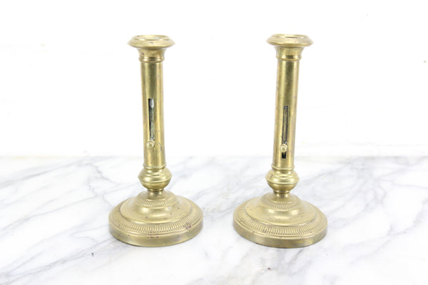 Antique Brass Push Up Candlesticks, Pair