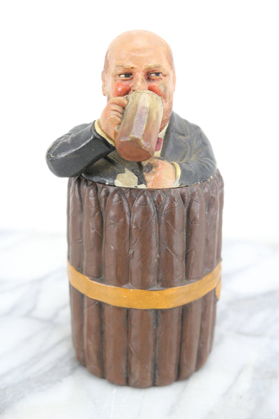 Figural Cigar Humidor with Man Drinking Beer, Made in Bohemia, Johann Maresch