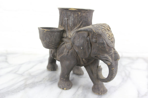 Figural Elephant Humidor and Match Box, Made in Bohemia, Ferdinand Gerbingand