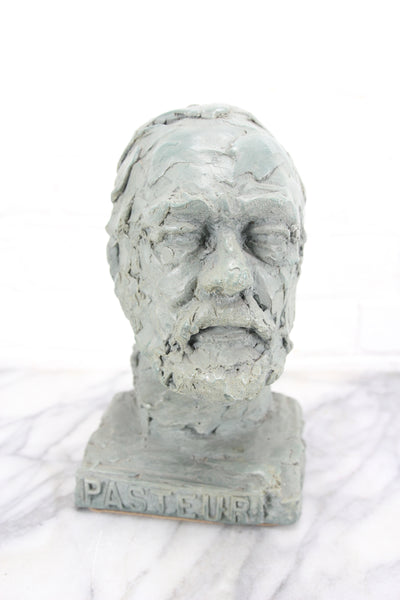 Louis Pasteur Heavy Green Bust Sculpture, Doris Appel