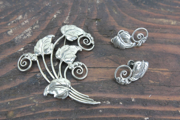 Danecraft Sterling Silver Brooch and Clip-On Earring Set