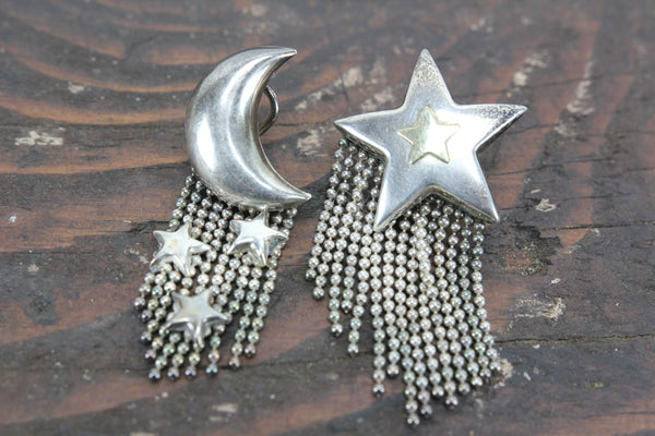 Sterling Silver Star and Moon Earrings