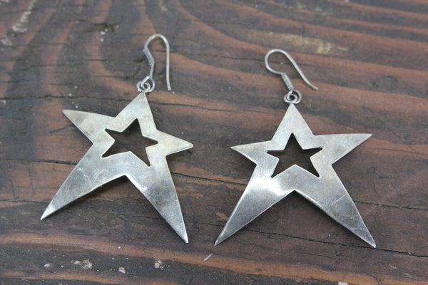 Taxco Mexico Sterling Silver Star Earrings, TM-220