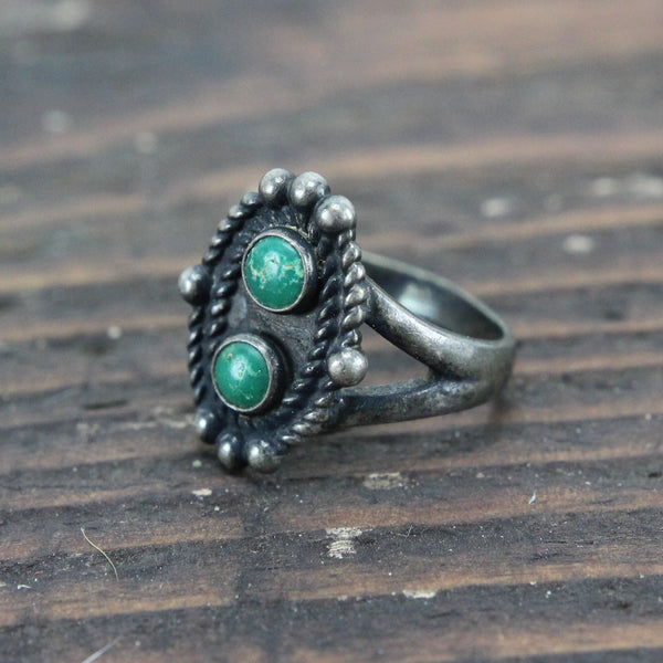 Sterling Silver Ring with Two Turqoiuse Stones - Size 6.75