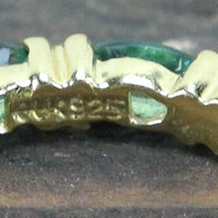Gold-Toned Sterling Silver Ring with Green Stones - Size 7