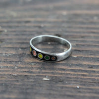 Sterling and Enamel Multi Color Planets Ring, Mexico - Size 6