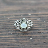 Sterling Silver Ring with White Iridescent Stone - Size 6.5