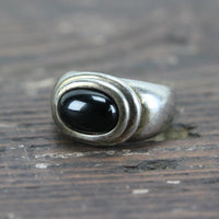Sterling Silver Ring with Large Onyx Stone - Size 10.75