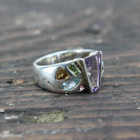 Sterling Silver Ring with Multi Colored Stones - Size 10
