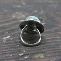 Native American Southwest Sterling Silver Ring with Large Turquoise - Size 7.5