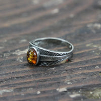 Sterling Silver Ring with Amber Stone - Size 6.5