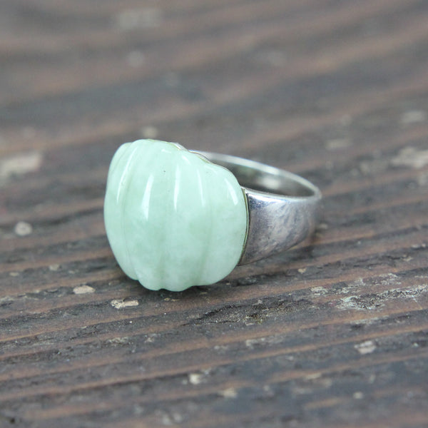 Sterling Silver Ring with Jade - Size 10