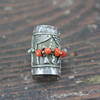 Intricate Native American Strling Silver Ring with Coral - Size 7