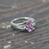 Sterling Silver Ring with Three Pink Heart Shaped Stones - Size 11