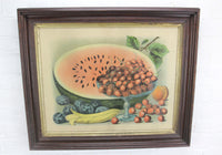 Still Life Color Lithograph Print of Fruit in Victorian Frame - 24 x 20""