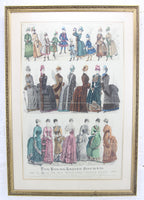 The Young Ladies' Journal Triple Paris Fashion Plates in Frame, 1885 - 20.5 x 29.5""