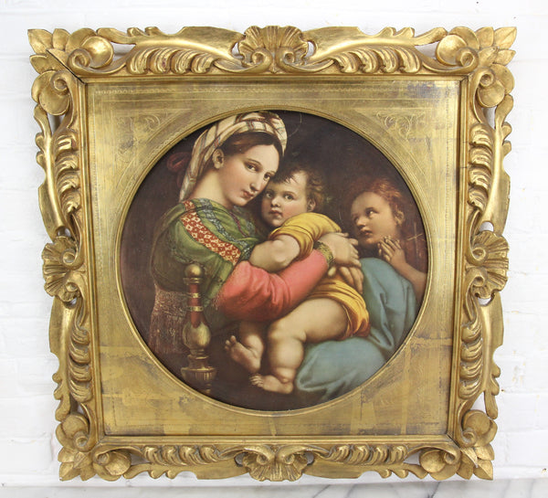 Religious Icon Print of Mother and Child on Board in Gold Frame - 27 x 26.5""