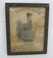 Grecian Bend Antique Sheet Music Cover in Frame, 1868 - 12.5 x 15.5""