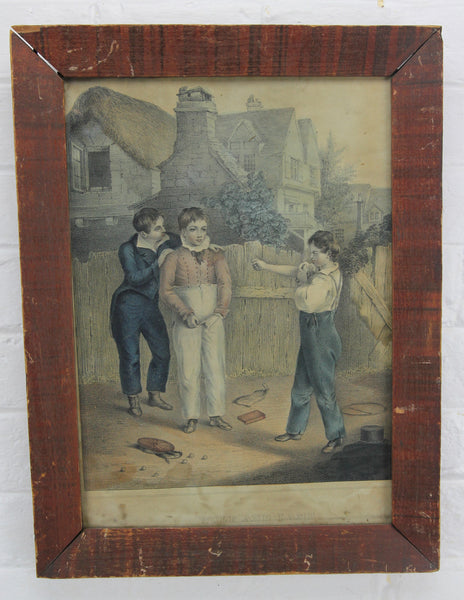 "Antique Print of Boys Fighting Titled ""Wolf and Lamb"" - 12 x 16"""