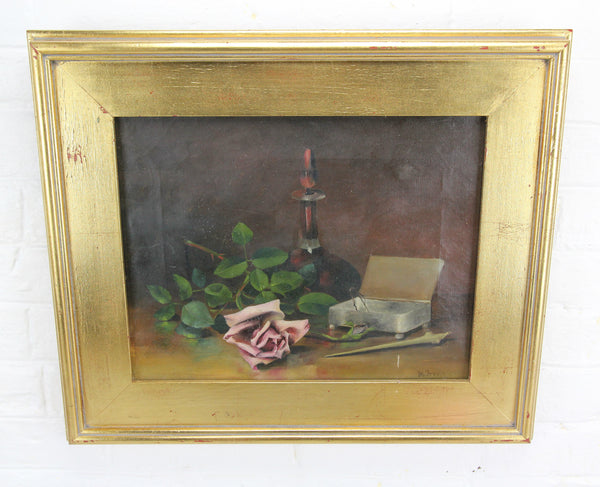 "Victorian Still Life Oil Painting on Canvas in Wood Frame, Signed M. Irving - 19.5"" x 16.5"""