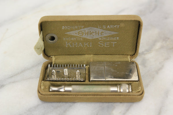 Gillette Khaki Set US Army World War I Safety Razor Shaving Kit