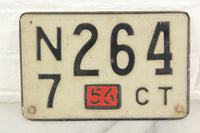 1956 Connecticut Automobile License Plate #N7264