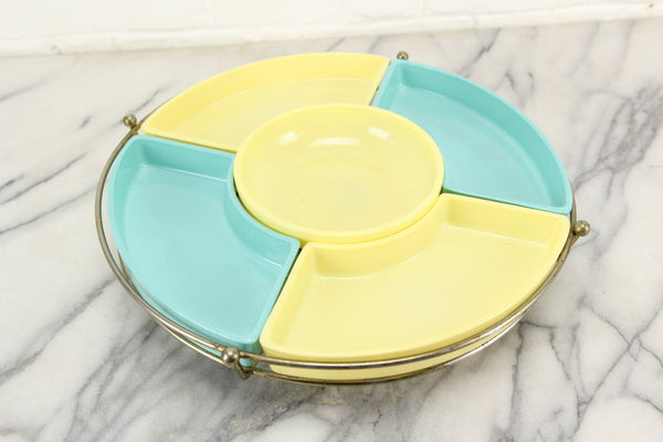 Mid-Century Lazy Susan Hors D'oeuvres Chips and Dip Serving Station