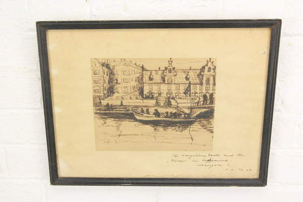 Original Signed Pen and Ink Drawing of Langelinie Pier, Copenhagen, Denmark, 1944 - 14.5 x 11""