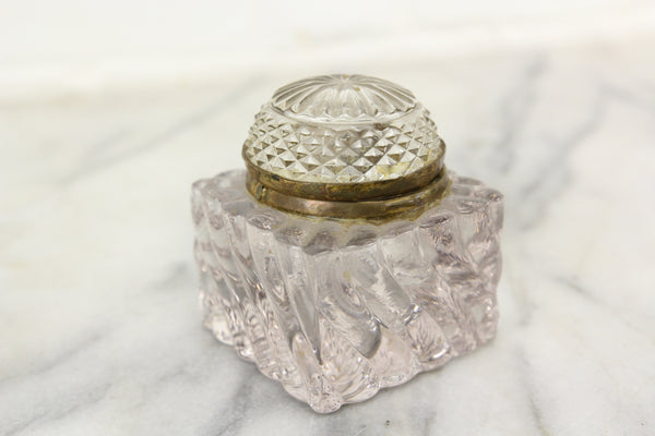 Antique Glass Square Inkwell with Lovely Design and Dome Top Lid
