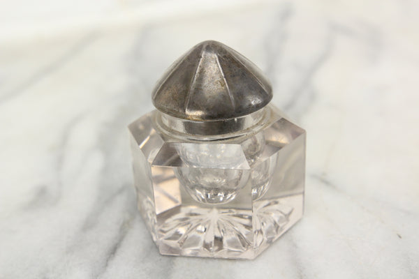 Antique Glass Hexagonal Inkwell with Sterling Silver Cone Top Lid