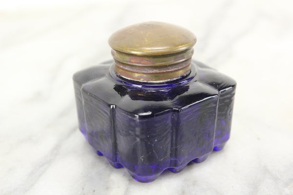 Antique Cobalt Blue Glass Square Inkwell with Brass Top Lid