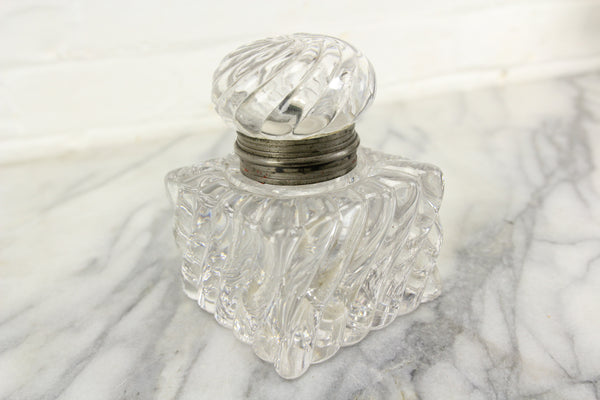 Large and Heavy Antique Glass Inkwell with Lovely Design and Hinged Top Lid