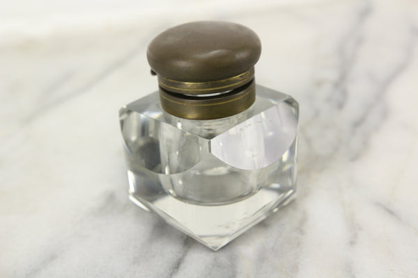 Antique Glass Rotund Inkwell with Beveled Edges and Brass Top Lid