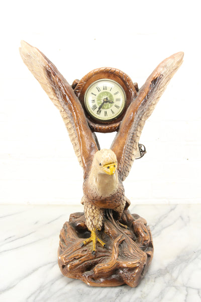 Large Eagle Chalkware Electric Clock by Lanshire