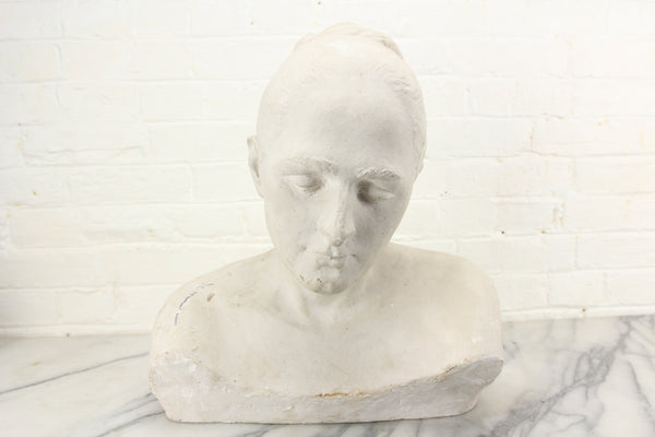 Large Plaster Bust Sculpture of A Pensive Looking Woman