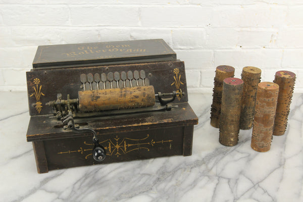 "The Gem Roller Organ Antique 1895 Crank Organ with Six ""Cobs"" Song Rolls"