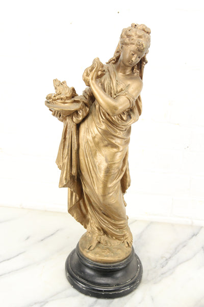 Golden Chalkware Statue of a Woman in Flowing Robes by Marwal Industries Inc.