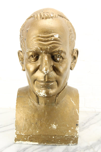 Large Gold Plaster Bust Sculpture of a Pope or Other Religious Figure
