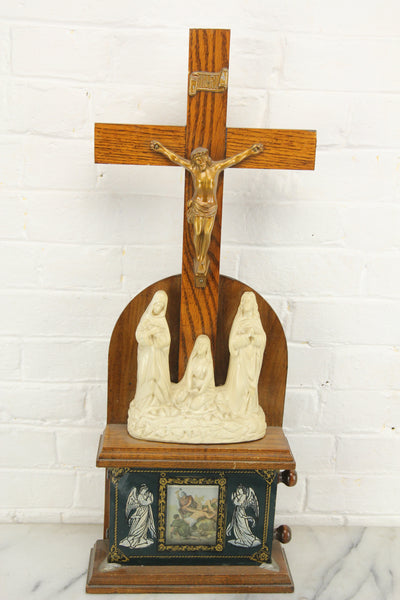 Stations of the Cross Scrolling Shrine Altar Box with Reverse Painted Glass