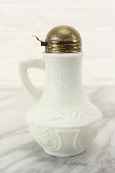 Antique Milk Glass Creamer or Syrup with Brass Lid