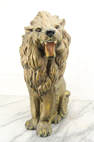Large Painted Plaster Chalkware Sculpture Lion Statue