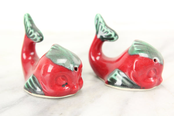 Red Whale Porcelain Salt and Pepper Shakers