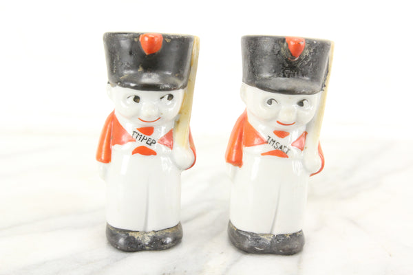 Soldier Porcelain Salt and Pepper Shakers, Made in Japan