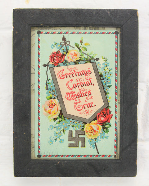 "Framed 1910s Postcard ""Greetings Cordial, Wishes True"" with Whirling Logs Motif"
