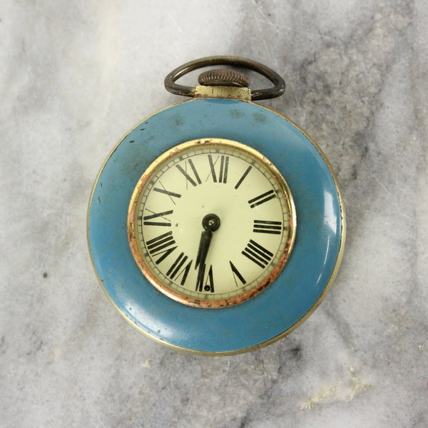 Brass and Blue Running Pocket Watch
