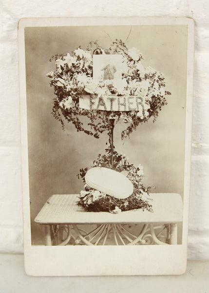 "Floral Funeral Mourning Arrangement for ""Father"" Cabinet Card Photograph"