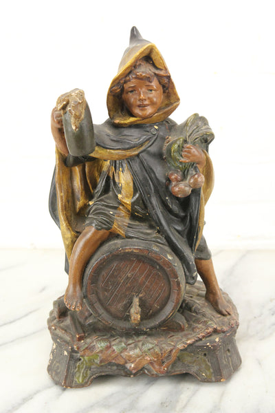 Ceramic Boy on Barrel of Beer Austrian Statue Sculpture