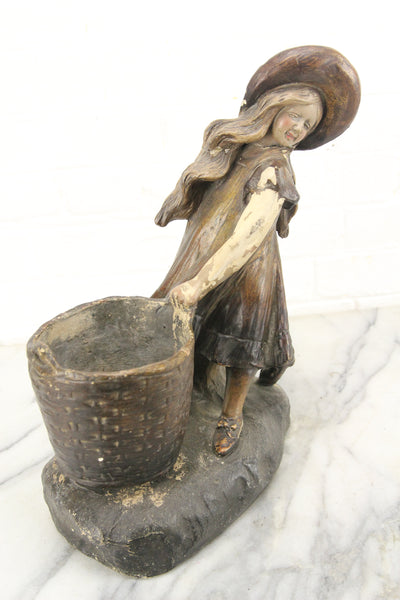 Ceramic Girl with Basket Austrian Statue Sculpture