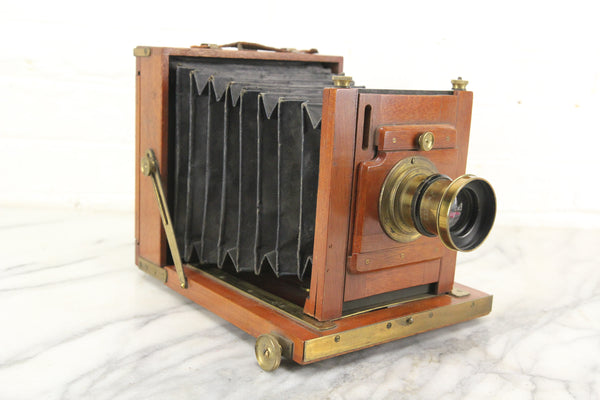 Antique Unmarked Half Plate Dry Plate Wooden Camera with f/8 Lens