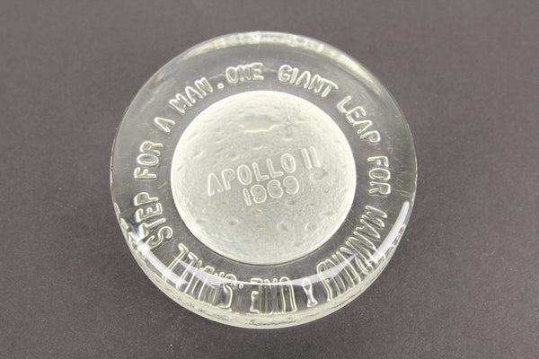 Apollo 11 Moon Landing Collectible Glass Paperweight, 1969
